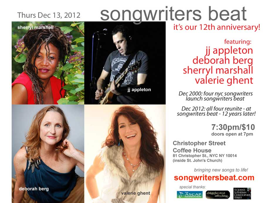 Songwriter's Beat 12th anniversary flier Dec 13 2012