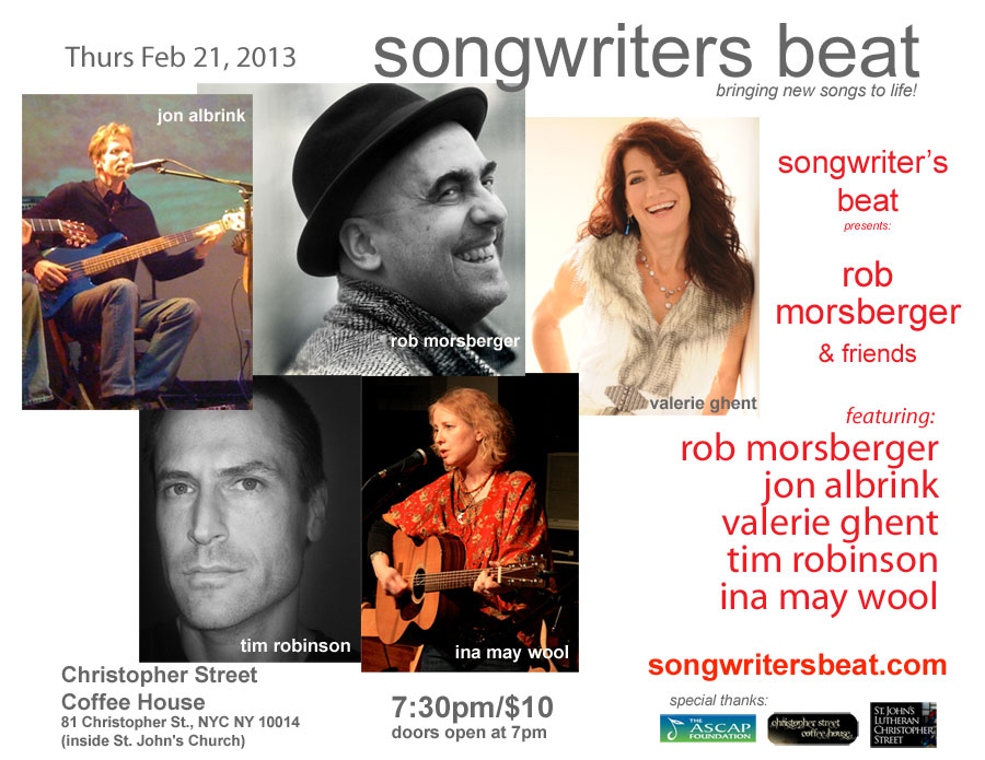 Rob Morsberger & Friends - Songwriter's Beat - Feb 21, 2013